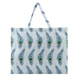 Background Of Beautiful Peacock Feathers Zipper Large Tote Bag