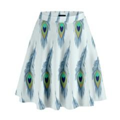 Background Of Beautiful Peacock Feathers High Waist Skirt by Nexatart