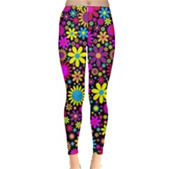 Bright And Busy Floral Wallpaper Background Leggings  by Nexatart