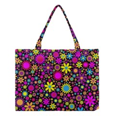 Bright And Busy Floral Wallpaper Background Medium Tote Bag by Nexatart