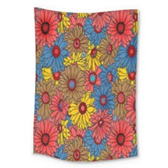Background With Multi Color Floral Pattern Large Tapestry by Nexatart