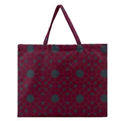 Blue Hot Pink Pattern With Woody Circles Zipper Large Tote Bag by Nexatart