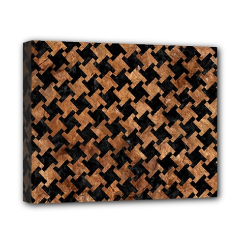 Houndstooth2 Black Marble & Brown Stone Canvas 10  X 8  (stretched) by trendistuff