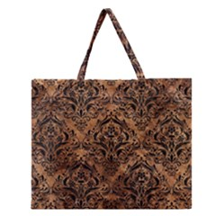Damask1 Black Marble & Brown Stone (r) Zipper Large Tote Bag by trendistuff