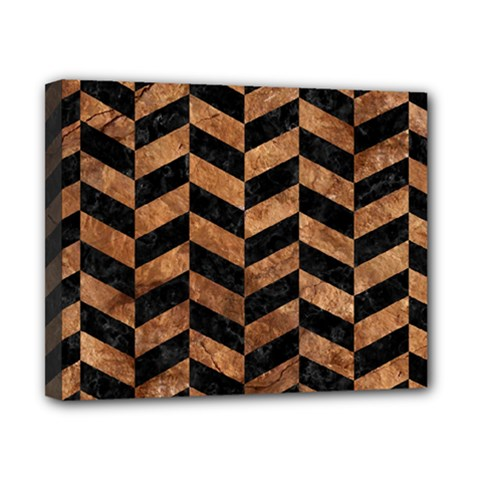 Chevron1 Black Marble & Brown Stone Canvas 10  X 8  (stretched) by trendistuff