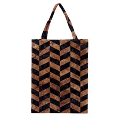Chevron1 Black Marble & Brown Stone Classic Tote Bag by trendistuff
