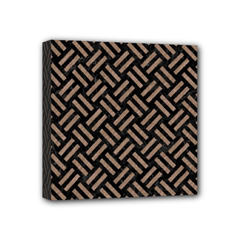 Woven2 Black Marble & Brown Colored Pencil Mini Canvas 4  X 4  (stretched) by trendistuff