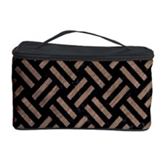 Woven2 Black Marble & Brown Colored Pencil Cosmetic Storage Case by trendistuff