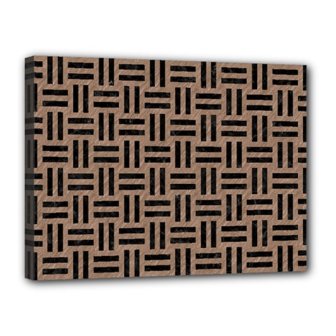 Woven1 Black Marble & Brown Colored Pencil (r) Canvas 16  X 12  (stretched) by trendistuff