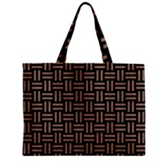 Woven1 Black Marble & Brown Colored Pencil Zipper Mini Tote Bag by trendistuff