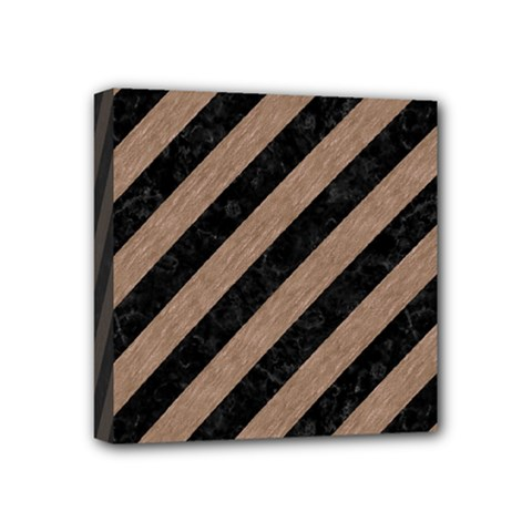 Stripes3 Black Marble & Brown Colored Pencil Mini Canvas 4  X 4  (stretched) by trendistuff