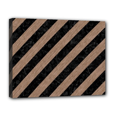 Stripes3 Black Marble & Brown Colored Pencil Canvas 14  X 11  (stretched) by trendistuff