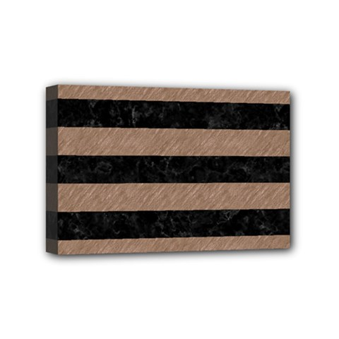Stripes2 Black Marble & Brown Colored Pencil Mini Canvas 6  X 4  (stretched) by trendistuff