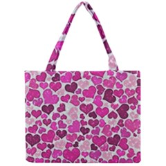 Sparkling Hearts Pink Mini Tote Bag by MoreColorsinLife