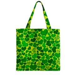 Sparkling Hearts, Green Zipper Grocery Tote Bag by MoreColorsinLife
