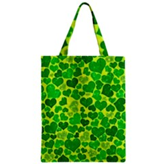 Sparkling Hearts, Green Zipper Classic Tote Bag by MoreColorsinLife