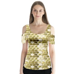 Cleopatras Gold Butterfly Sleeve Cutout Tee  by psweetsdesign
