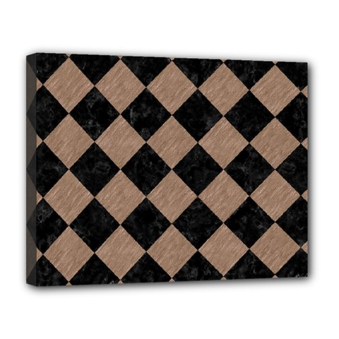 Square2 Black Marble & Brown Colored Pencil Canvas 14  X 11  (stretched) by trendistuff