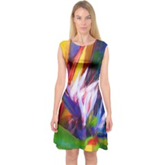 Palms02 Capsleeve Midi Dress by psweetsdesign