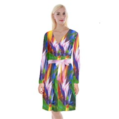 Palms02 Long Sleeve Velvet Front Wrap Dress by psweetsdesign