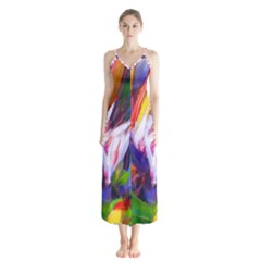 Palms02 Button Up Chiffon Maxi Dress by psweetsdesign
