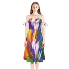 Palms02 Shoulder Tie Bardot Midi Dress by psweetsdesign