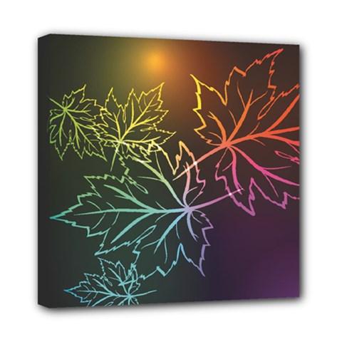 Beautiful Maple Leaf Neon Lights Leaves Marijuana Mini Canvas 8  X 8  by Mariart