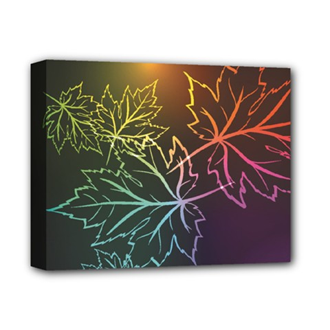 Beautiful Maple Leaf Neon Lights Leaves Marijuana Deluxe Canvas 14  X 11  by Mariart