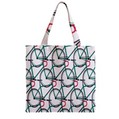 Bicycle Cycling Bike Green Sport Zipper Grocery Tote Bag by Mariart