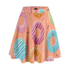Doughnut Bread Donuts Orange High Waist Skirt by Mariart