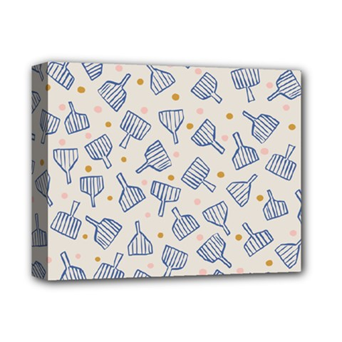 Glass Polka Circle Blue Deluxe Canvas 14  X 11  by Mariart