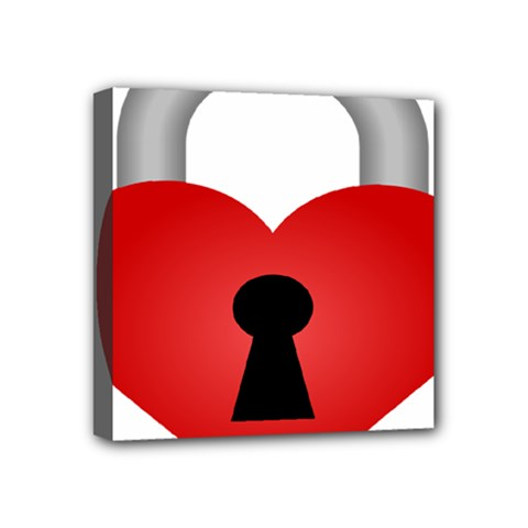 Heart Padlock Red Love Mini Canvas 4  X 4  by Mariart