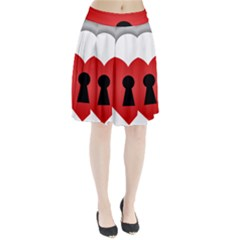 Heart Padlock Red Love Pleated Skirt by Mariart