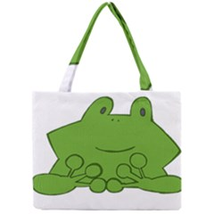 Illustrain Frog Animals Green Face Smile Mini Tote Bag by Mariart