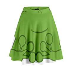 Illustrain Frog Animals Green Face Smile High Waist Skirt by Mariart