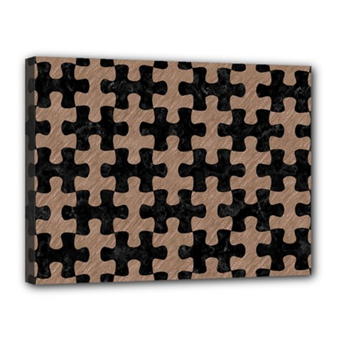 Puzzle1 Black Marble & Brown Colored Pencil Canvas 16  X 12  (stretched) by trendistuff