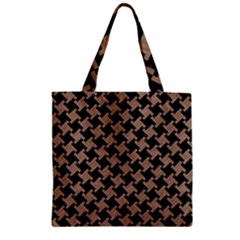 Houndstooth2 Black Marble & Brown Colored Pencil Zipper Grocery Tote Bag by trendistuff
