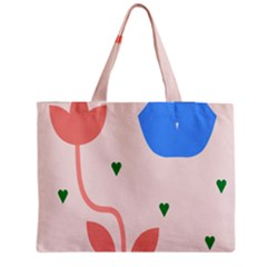 Lip Sexy Flower Tulip Heart Pink Red Blue Green Love Medium Tote Bag by Mariart