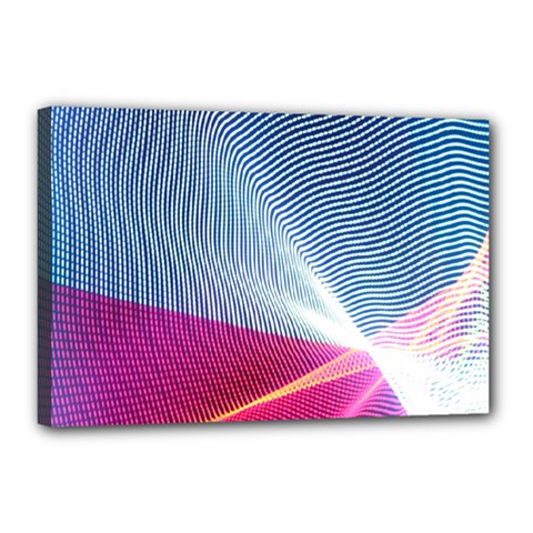 Light Means Net Pink Rainbow Waves Wave Chevron Red Canvas 18  X 12  by Mariart
