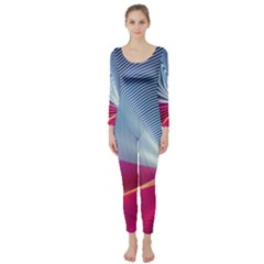 Light Means Net Pink Rainbow Waves Wave Chevron Red Long Sleeve Catsuit by Mariart