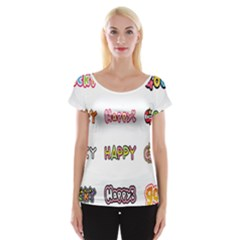 Lucky Happt Good Sign Star Cap Sleeve Tops by Mariart