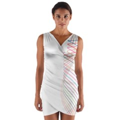 Line Wave Rainbow Wrap Front Bodycon Dress by Mariart