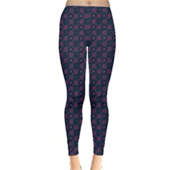 Purple Floral Seamless Pattern Flower Circle Star Leggings  by Mariart