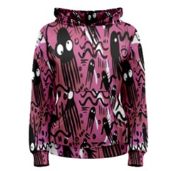 Octopus Colorful Cartoon Octopuses Pattern Black Pink Women s Pullover Hoodie by Mariart