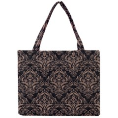 Damask1 Black Marble & Brown Colored Pencil Mini Tote Bag by trendistuff