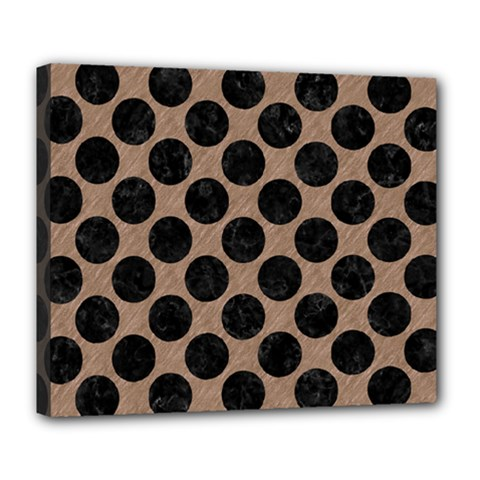 Circles2 Black Marble & Brown Colored Pencil (r) Deluxe Canvas 24  X 20  (stretched) by trendistuff