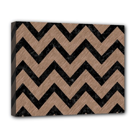 Chevron9 Black Marble & Brown Colored Pencil (r) Deluxe Canvas 20  X 16  (stretched) by trendistuff