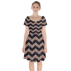 Chevron3 Black Marble & Brown Colored Pencil Short Sleeve Bardot Dress