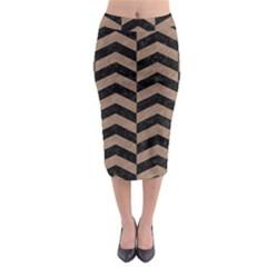 Chevron2 Black Marble & Brown Colored Pencil Midi Pencil Skirt by trendistuff
