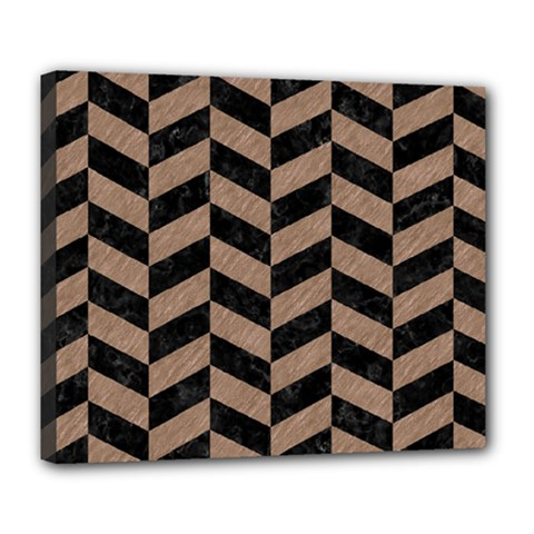 Chevron1 Black Marble & Brown Colored Pencil Deluxe Canvas 24  X 20  (stretched) by trendistuff